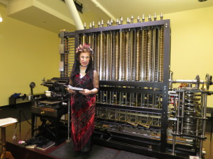 Ada Lovelace demonstrating the Babbage Difference Engine; Photo by Jean Martin